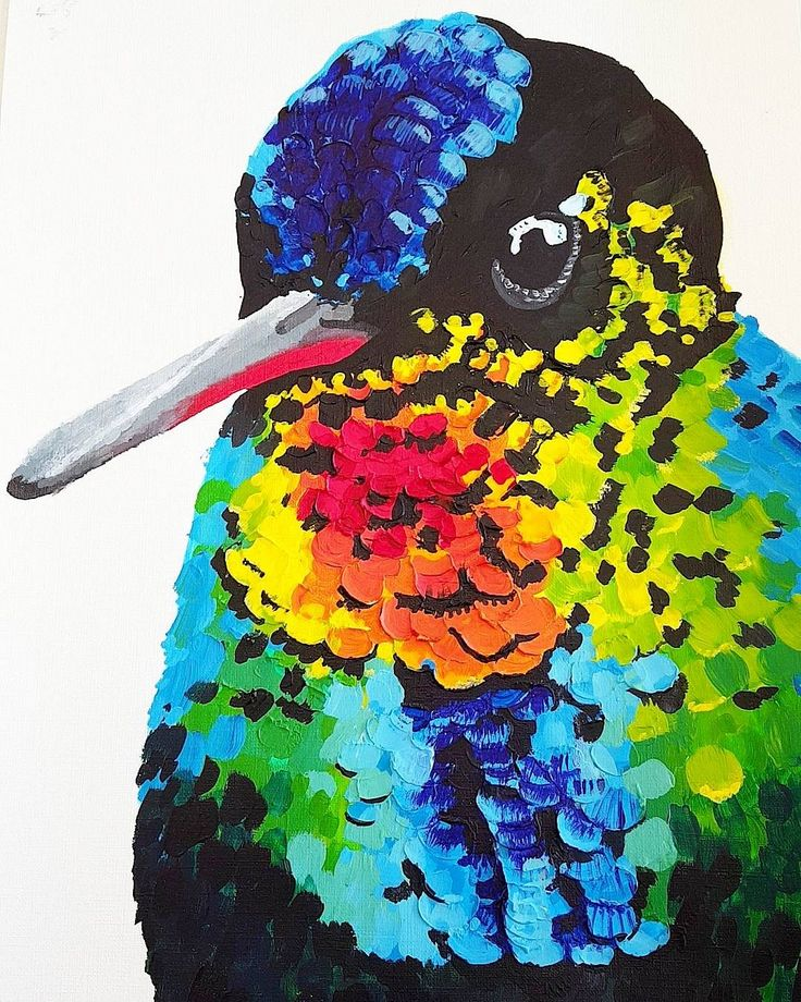 Vibrant Hummingbird  By Bonnie Leggett  Acrylic paints with moulding paste  A3 Canvas paper