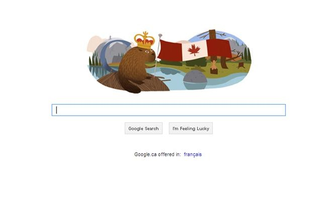A screenshot of the Canada Day Google homepage on July 1, 2012