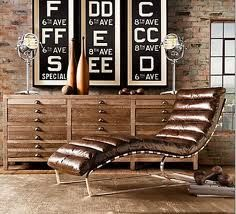 industrialDecor, Restoration Hardware, Chaise Lounges, Subway Art, Chairs, Living Room, Restorationhardware, Exposed Brick, Expo Bricks