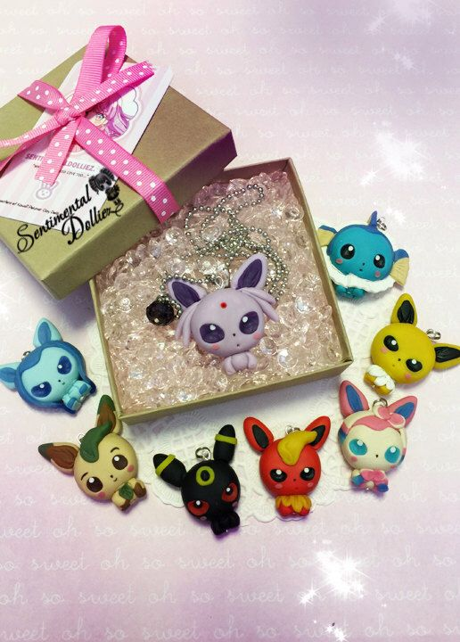 Kawaii Eeveelutions forms Necklace - Pokemon - Eevee - Made to order as is by SentimentalDollieZ on Etsy https://www.etsy.com/listing/224332844/kawaii-eeveelutions-forms-necklace