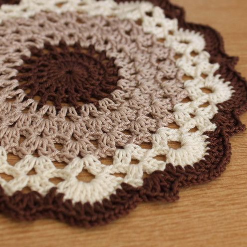 Frothy Coffee Brown Large Crochet Doily, wonder if I can do this much larger for a bedside rug. Hmmmm.