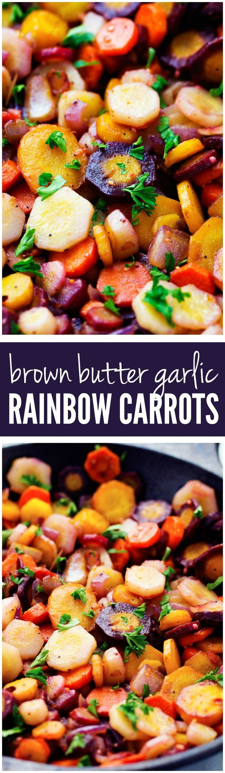 Vibrant colored rainbow carrots get sautéed in brown butter and garlic creating a delicious side dish. They are so tender and flavorful and will become a favorite new side!