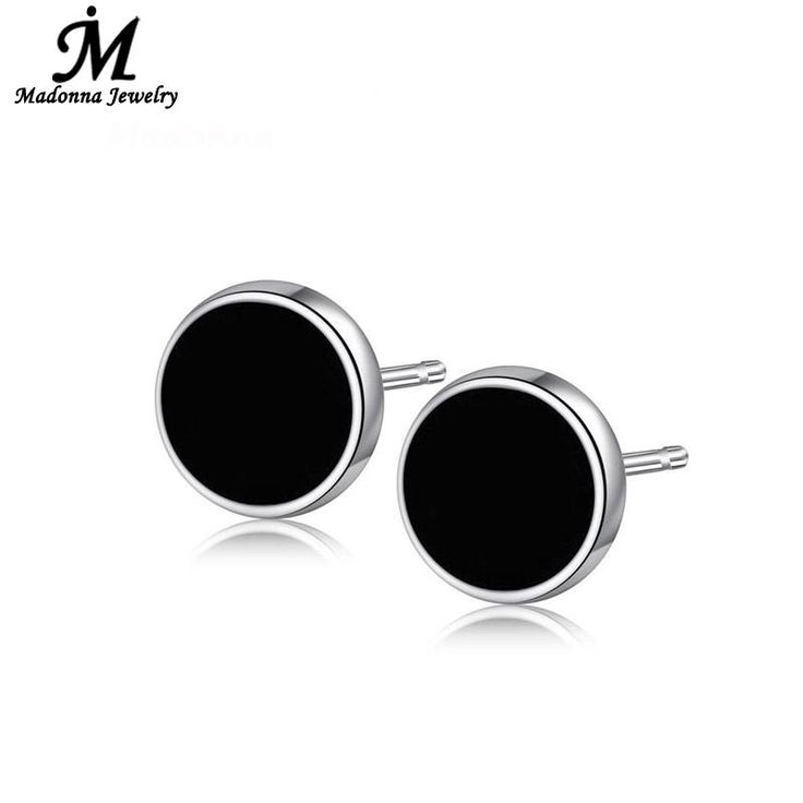 2016 Classic Unisex Men Women cartilage Black  Stud Earrings Korean Style Fashion Circle Silver Ear Jewelry wholesale
