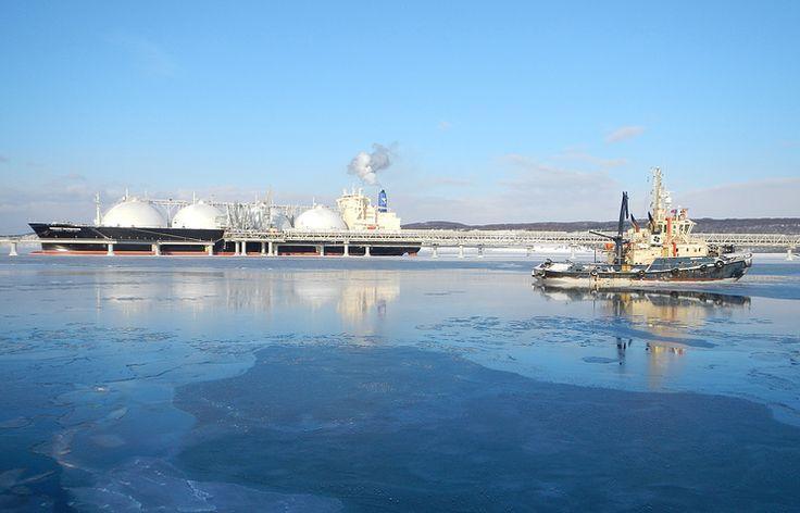 """Танкер-газовоз """"Energy Navigator"""" и буксиры для обслуживания и швартовки газовозов завода по производству СПГ проекта """"Сахалин-2"""" в заливе Анива"""