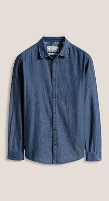 Esprit / Basic denim shirt, 100% cotton