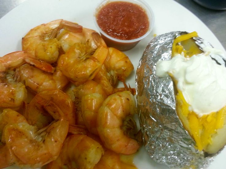 Peel and Eat Shrimp and Baked Potato