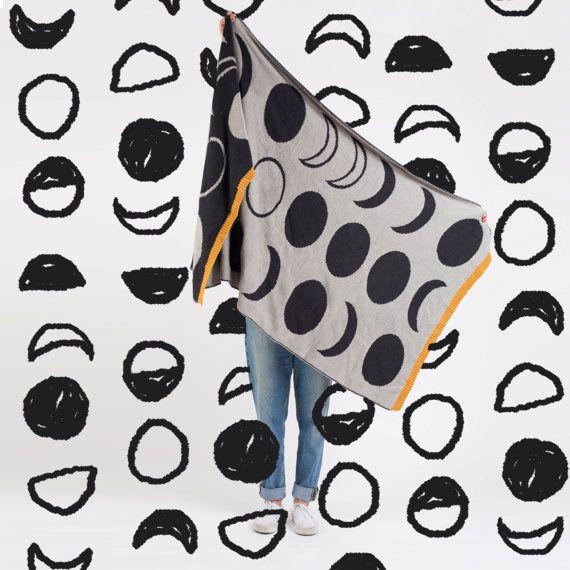 Moon Phases Blanket, Best Wool Blanket, Wool and Alpaca Blanket, Lifestyle Blanket, Wholesale Blanket, Blanket Scarf