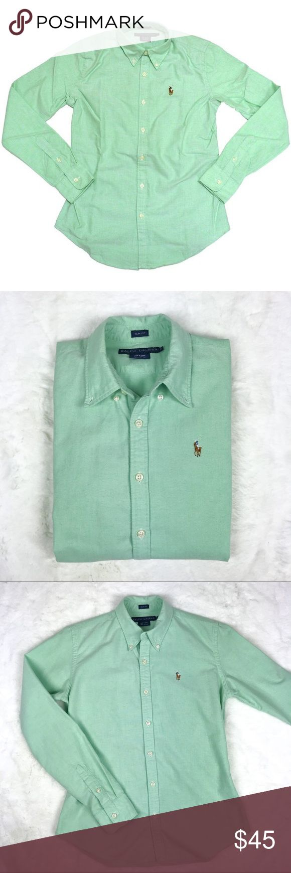 Ralph Lauren Woman's Oxford Slim Fit Shirt Ralph Lauren Women's Oxford Slim Fit Button Down Dress Shirt  These oxfords are a classic for Ralph Lauren and a staple for any woman's wardrobe.  Perfect for any occasion these oxfords are slim fit for a more alluring silhouette.  * 100% Cotton, Oxford.  * light green color  * Slim Fit  * Button Down Collar  * Features Signature Embroidered Pony Logo  * Standard Cuffs  Excellent Condition! Ralph Lauren Tops Button Down Shirts