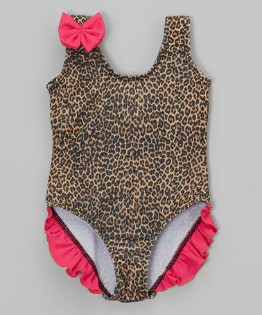 Look what I found on #zulily! Pink Leopard Ruffle One-Piece - Infant & Toddler by Daisy's Swimwear #zulilyfinds