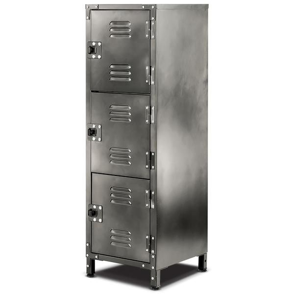 You'll love the style of this 3 door locker.  https://allspacehome.com/collections/home-storage. It adds a touch of industrial urban chic and practical storage to any room in the house, apartment, office or garage. The heavy gauge steel is finished with a vintage galvanized look that complements almost any decor.