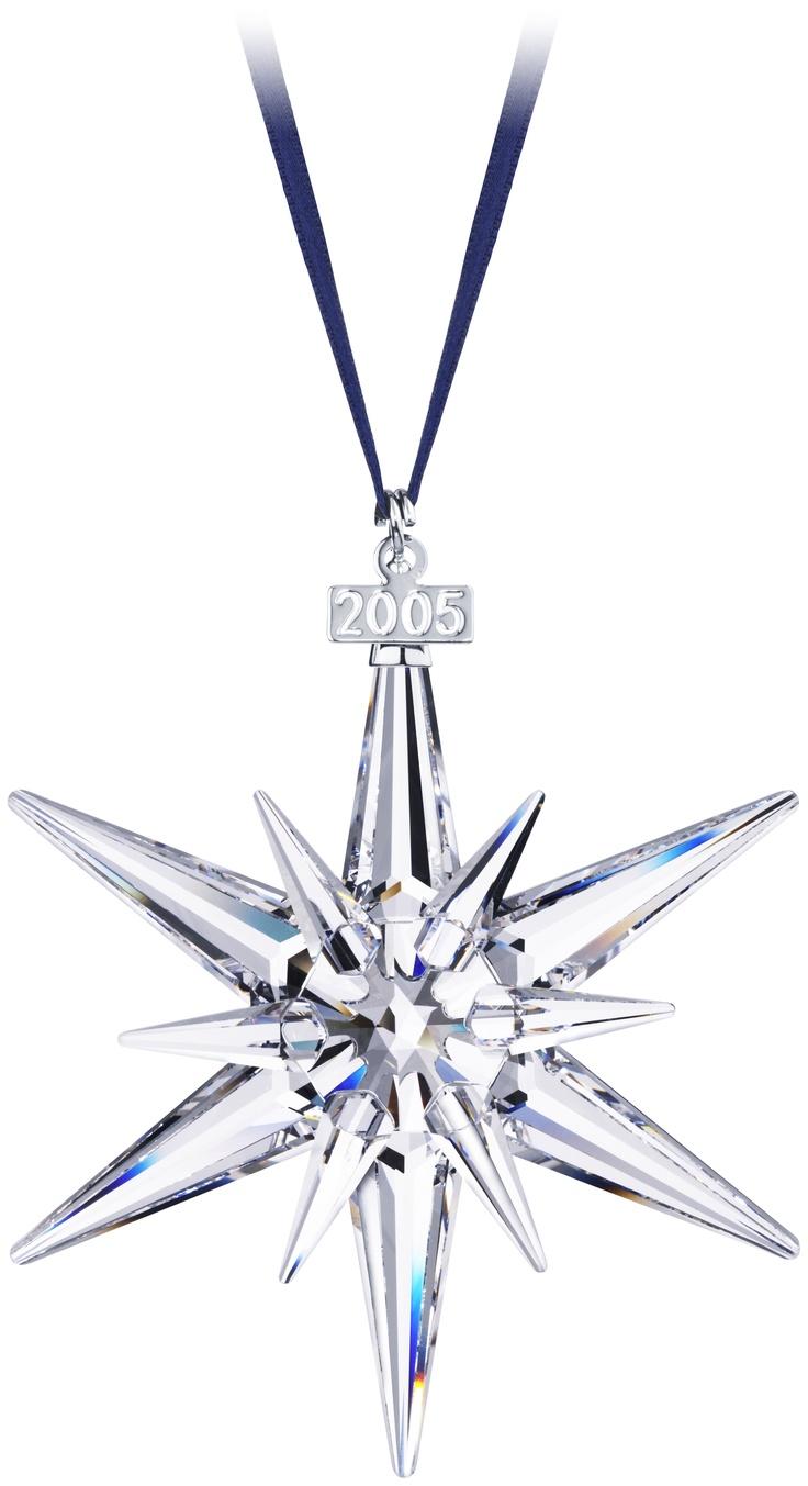 2005 Star *** · Christmas Starsblue Ribbonxmas Ornamentssuncatcherscut  Glasswandsswarovski