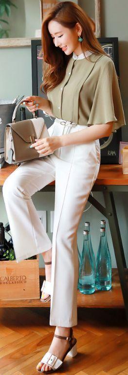 StyleOnme_Pintuck Detail Boot-Cut Slacks #elegant #officelook #koreanfashion #kstyle #kfashion #seoul #summerlook