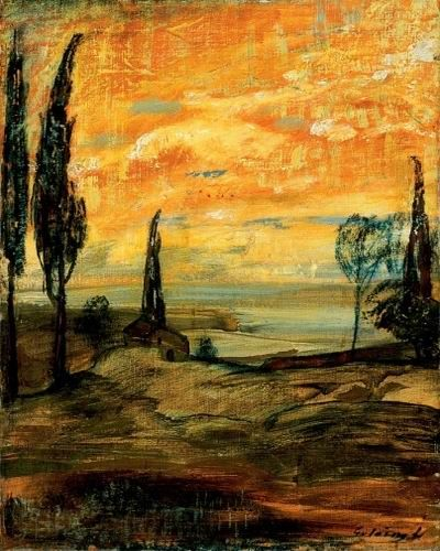 Gulácsy Lajos: (1909-1910) - Naplemente itáliai tájban , 1900-as évek második fele  Olaj, vászon (magángyűjtemény) (Jelezve jobbra lent: Padova )