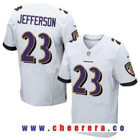 Men's Baltimore Ravens #23 Tony Jefferson White Road Stitched NFL Nike Elite Jersey