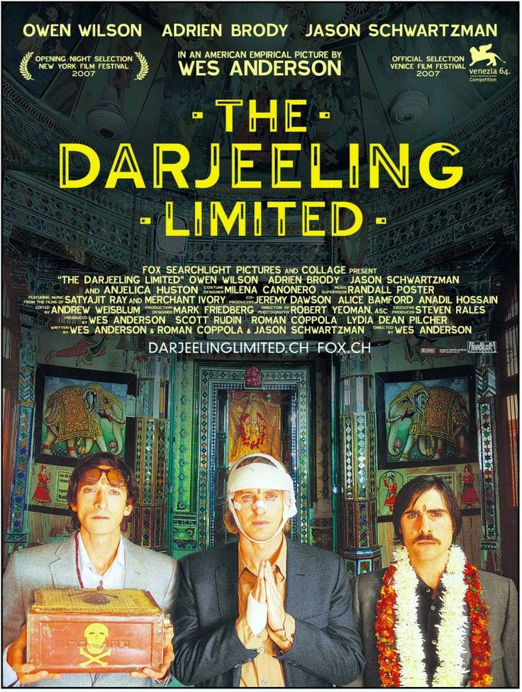The Darjeeling Limited (2007) Directed by Wes Anderson. Starring Owen Wilson, Adrien Brody, Jason Schwartzman