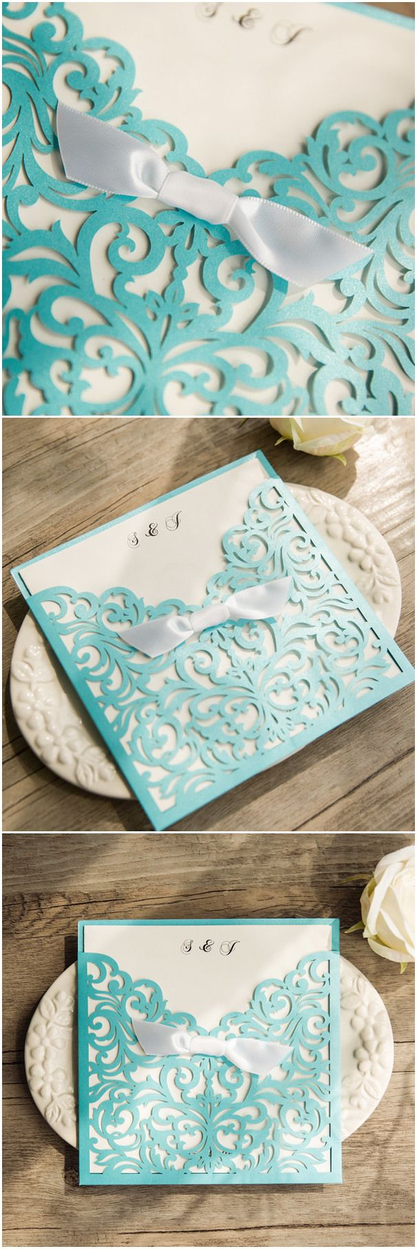 Tiffany blue themed laser cut wedding invitations