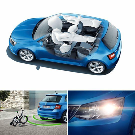 Komplet najpewniejszych rozwiązań dla Ciebie i Twoich pasażerów.    sześć poduszek powietrznych w standardzie 5 gwiazdek w testach NCAP systemy bezpieczeństwa jak w samochodach wyższej klasy (ESP z ABS, MSR, ASR, EDL, HBA, TPM, XDS – elektroniczna blokada mechanizmu różnicowego, hamulec antykolizyjny) czujnik parkowania przód/tył FRONT ASSISTANT – kontrola odstępu z funkcją awaryjnego hamowania EASY LIGHT ASSISTANT – czujnik zmierzchu 
