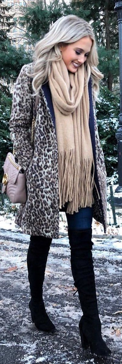 #winter #outfits gray and brown leopard printed topcoat