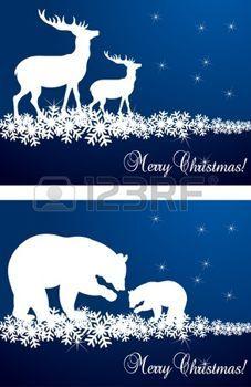 Natale cervi e illustrazione sfondo orso photo