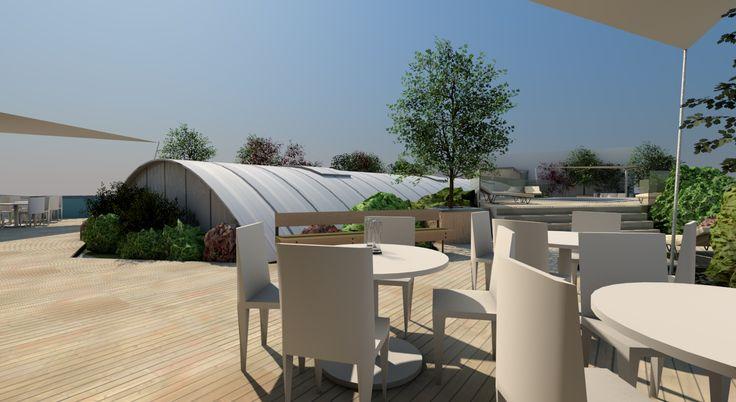 Střešní zahrada na budově firmy Ekosystem