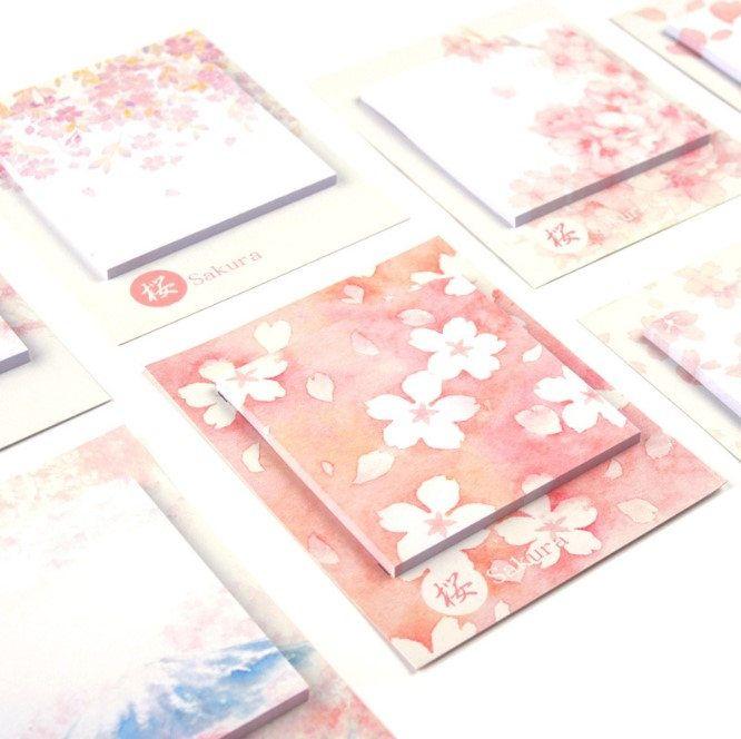 Pink Sakura Notepads, Memo Pads, Reminder Notes, Memo Pad Stickers by GinkoSupplies on Etsy