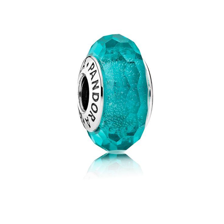 PANDORA | Teal Shimmer Charm, Murano Glass