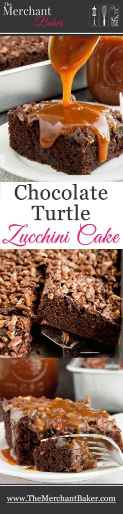 Chocolate Turtle Zucchini Cake... baked with toasted pecans and mini chocolate chips on top, then drenched with a hot buttery caramel sauce!( The cake has been lightened up which helps balance that saucy splurge on top :)