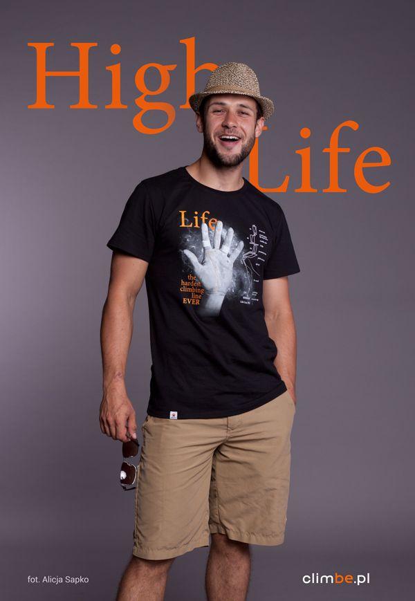 Męski t-shirt z nadrukiem Climbe Life Line.  Męska linia życia.   Koszulka wspinaczkowa dostepna w sklepie climbe:   www.sklep-climbe.pl