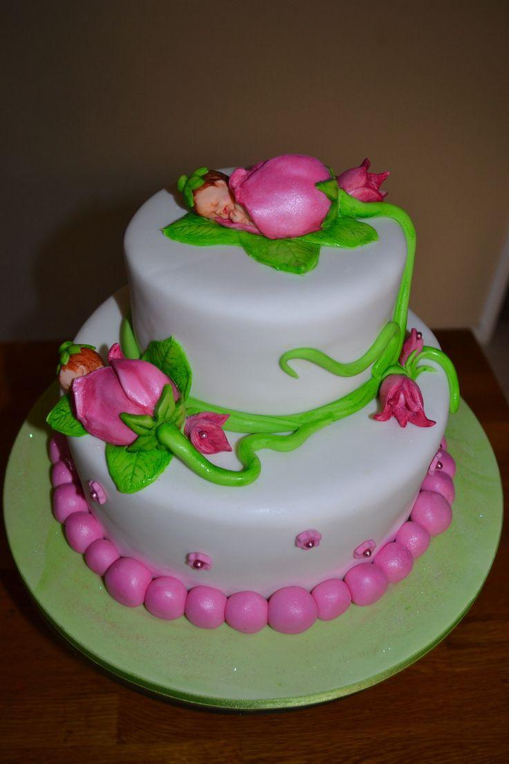 Baby in Flower Baby Shower Cake