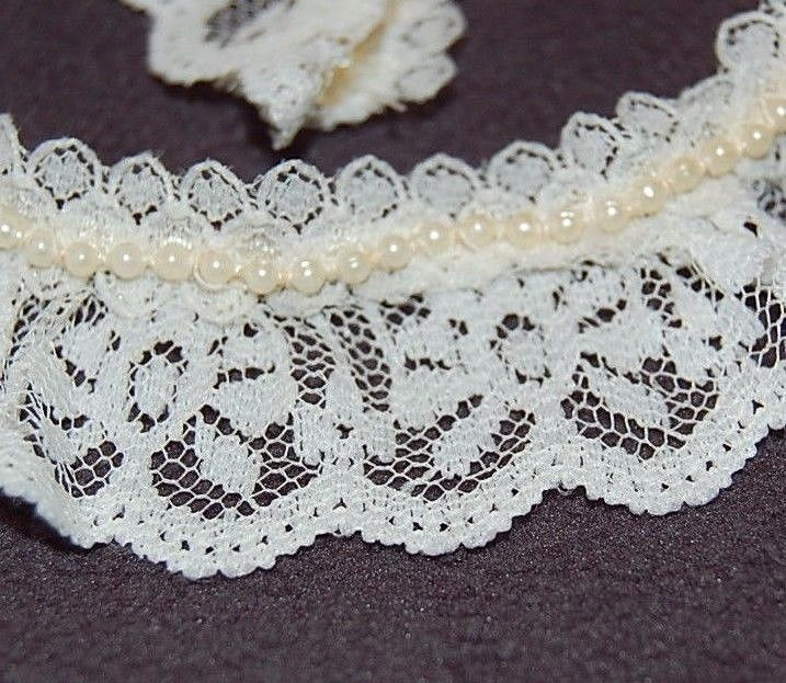 "Country Lace & Ribbon 1-1/4"" Cream Beaded Trim Scalloped Ruffled Lace Craft Sew #CountryLaceRibbon"