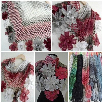 Ready to ship flower shawl by likeknitting on Etsy