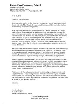 letter of recommendation for correctional officer position