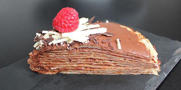 Pandekagelagkage med chokolade