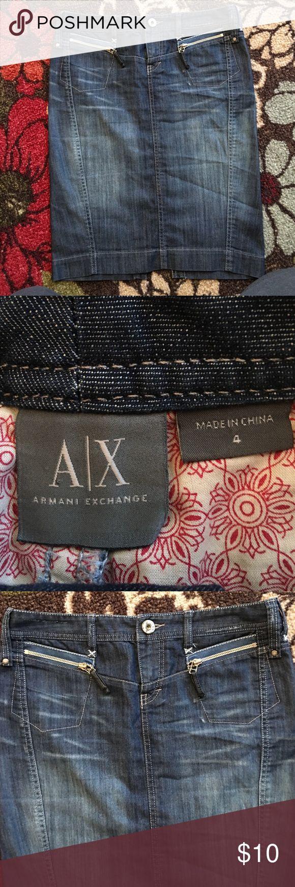 Size 4 Armani Exchange knee length denim skirt Size 4 Armani Exchange knee length denim skirt. Cotton/polyester/spandex so it has some stretch to it. Armani Exchange Skirts Midi