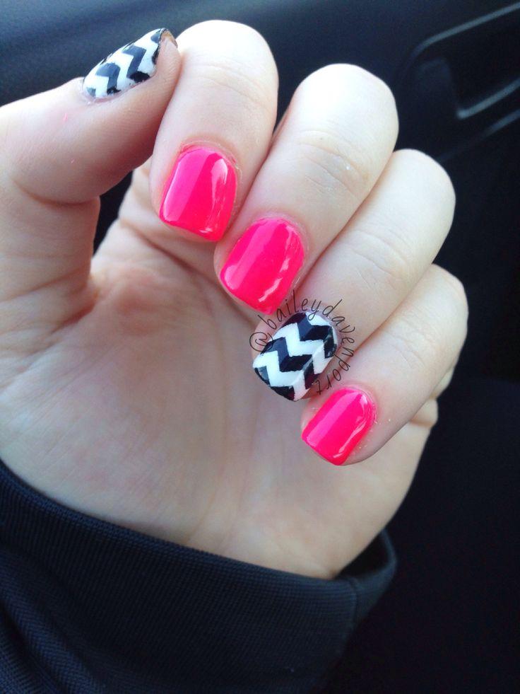 Pink chevron gel nails