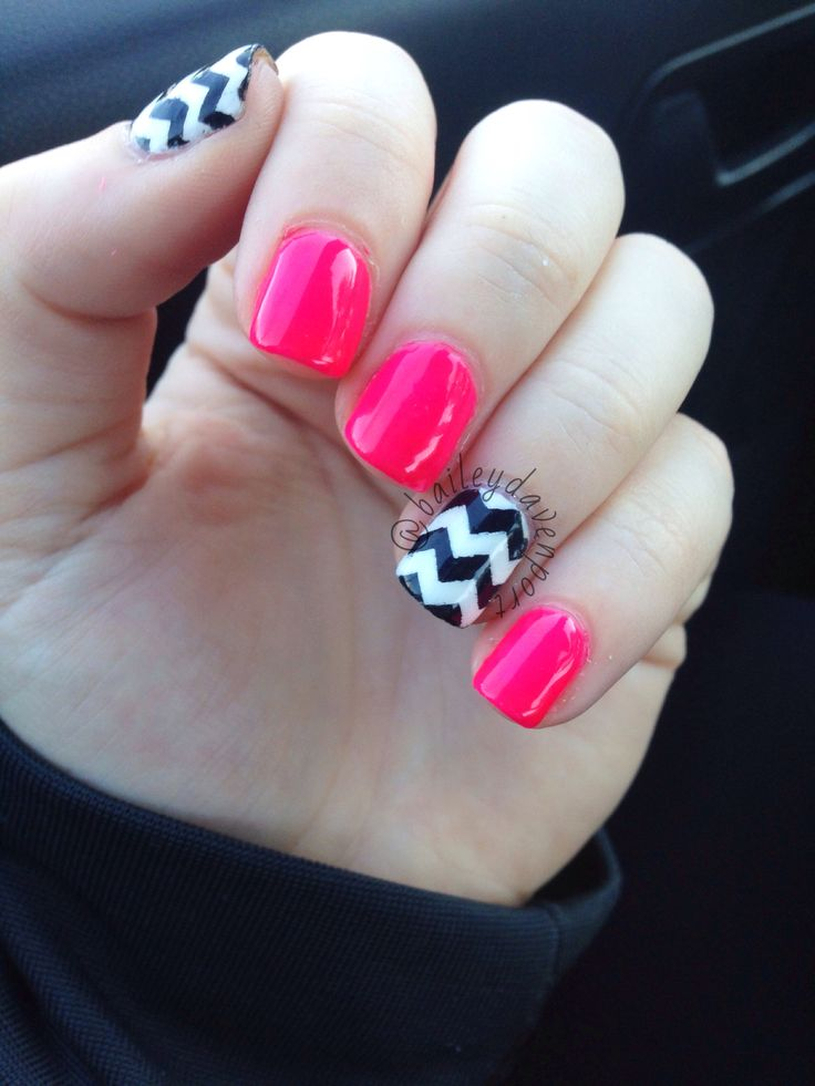 Pink chevron gel nails