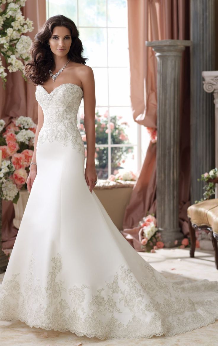 Metallic Lace Gown by David Tutera   Item #114279W by David Tutera (Spring, 2014)        $1,640.00  Look picture perfect with David Tutera 114279W. This wedding gown features a strapless and sweetheart neckline. The elegant Metallic lace is dusted with sparkling beads and splashed the bodice and hemline for that gorgeous shimmering effect. The fit-and-flare skirt looks gorgeous that is perfect for your bridal outfit.