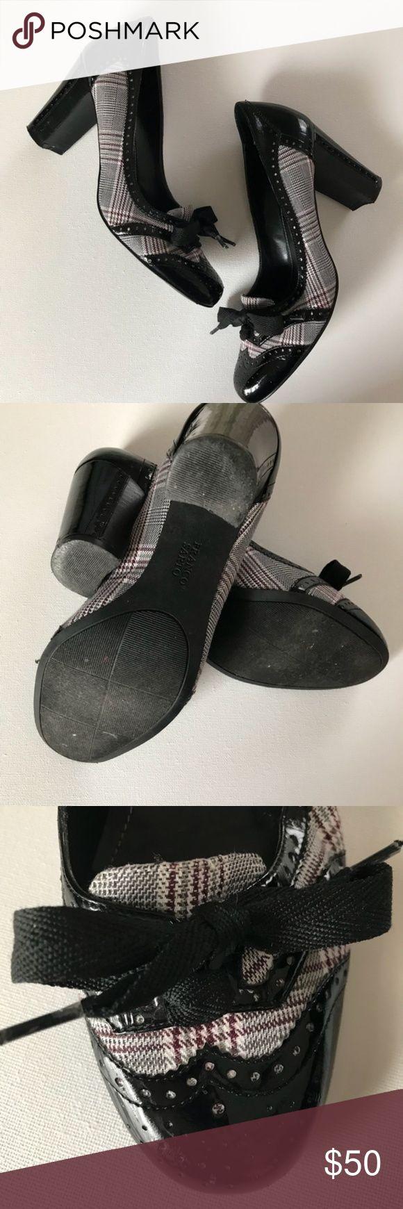 """Franco Sarto retro grey & black plaid heels Franco Sarto retro black plaid heels with ties  Approximately 3-1/4"""" heel Franco Sarto Shoes Heels"""