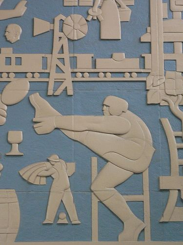 Gridiron detail from the frieze by Charles Comfort at Gare Centrale, Montreal