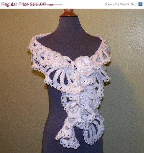 Daling verkoop witte sjaal sjaal Sashay door wildirishrosecrochet