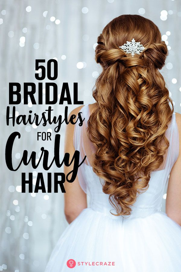 50 Simple Bridal Hairstyles For Curly Hair Curly Bridal Hair Curly Hair Styles Simple Bridal Hairstyle