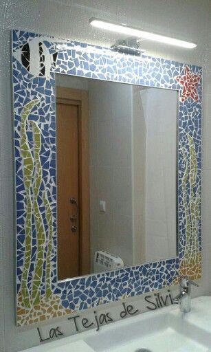 13 best espejos decorados images on pinterest decorated for Banos decorados con ceramica