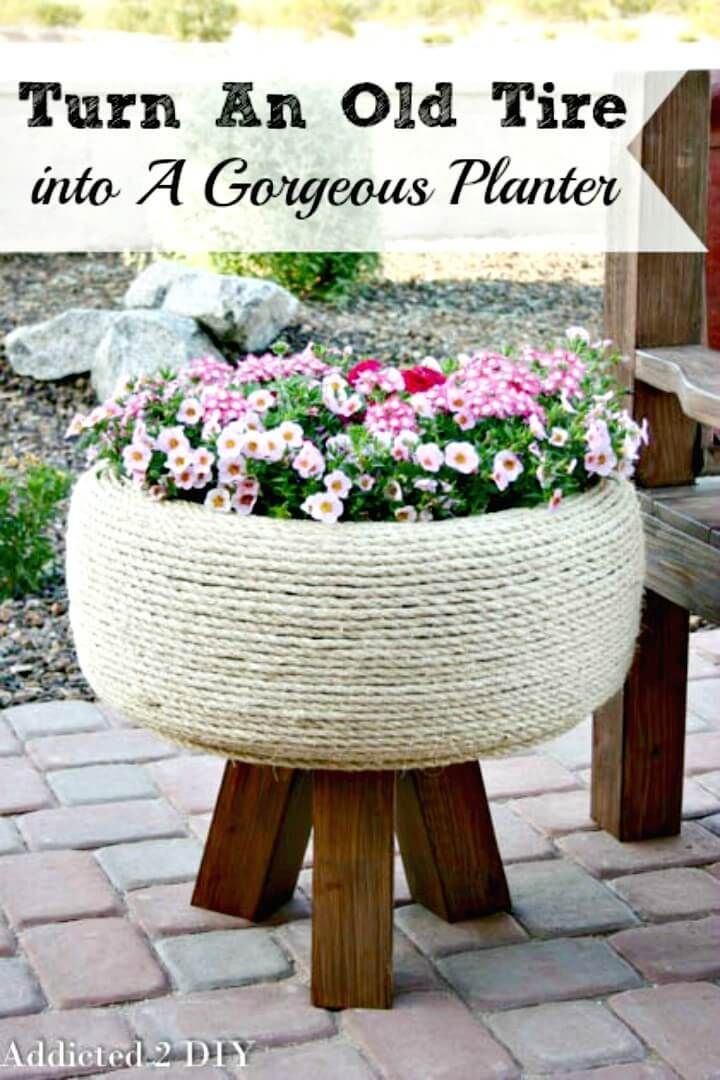 How To Turn An Old Tire Into A Gorgeous Planter - 110 DIY Backyard Ideas to Try Out This Spring & Summer - DIY & Crafts