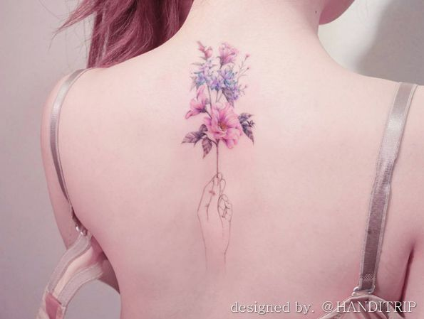 Spring floral bouquet tattoo by Handitrip