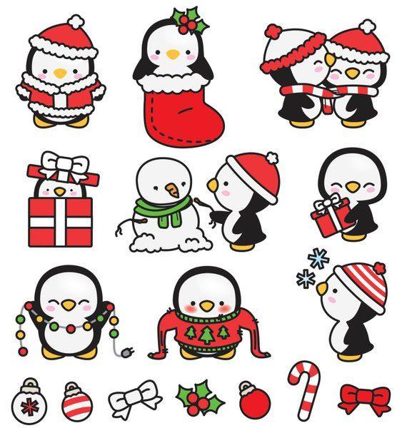 Premium-Vektor Clipart – Kawaii Weihnachten Pinguine – Cute Weihnachten Pinguine Clipart Set – hochwertige Vektoren – Kawaii Weihnachten ClipArts