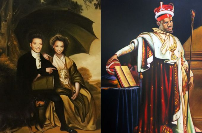 """Bruno Mars and girlfriend Jessica Caban (left) get """"Nobilified,"""" while Lebron James (right) is crowned a king."""