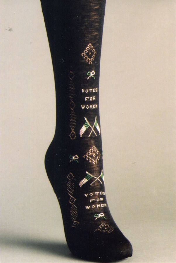 """Stocking with """"Votes for Women"""" stitched onto them (1910)"""