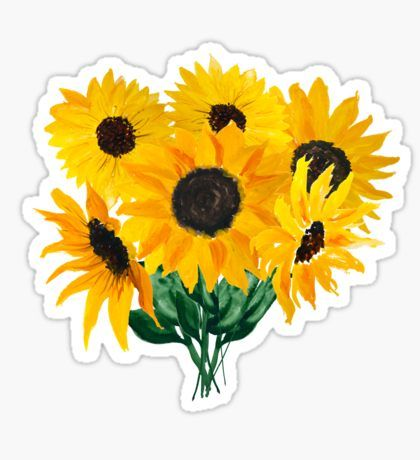 Painted sunflower bouquet Pegatina