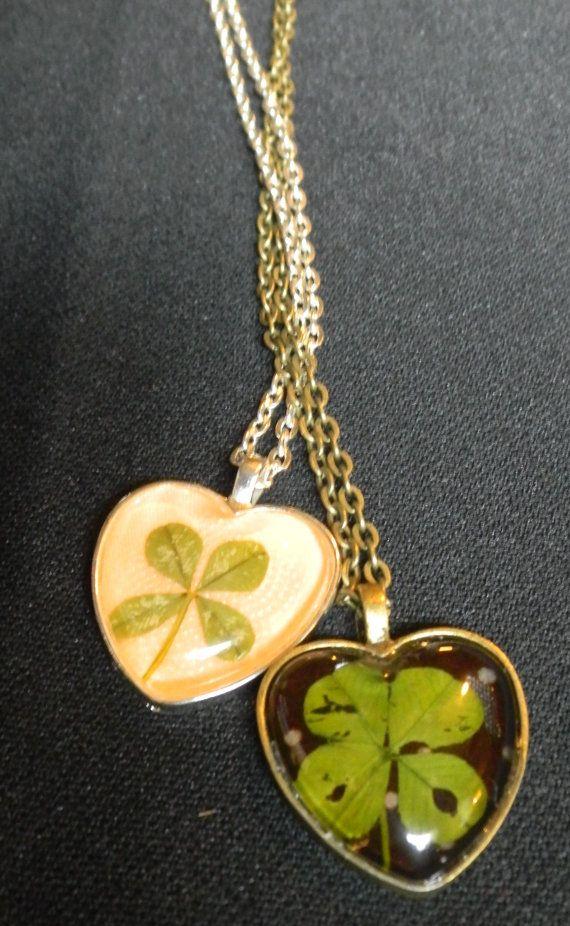 Real pressed four leaf clovers inside pendent - good idea for my four leaf and five leaf clover I have