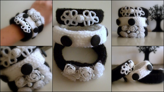 Knitted Bracelets KB 23 WINTER MOOD Set of 3 by Vladilenashandmade, $20.00